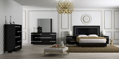 At Home USA  Volare Bedroom Set available in two colors Black and Walnut – High gloss finish, chromed metal details, Headboard embellished with crocodile's parts.220 Elm #322 #HPmkt
