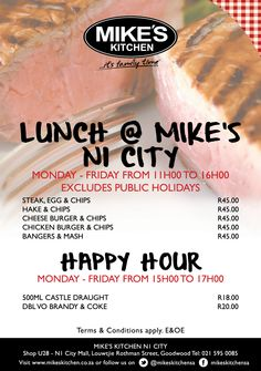 Mikes Kitchen N1 City Lunch Special Burger And Chips, Bangers And Mash, Public Holidays, Lunch Specials, Happy Hour, Steak, City, Kitchen, Cooking