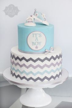 Baby shower cake baby boy sneakers converse blue grey white chevron stripes dots kirstenbakes - Baby shower chevron decorations ...