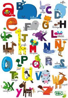 Abecedario con el tema de animales. Letras mayúsculas y minúsculas.