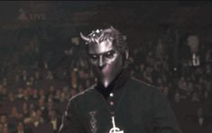"""Ghost won the Swedish Grammis for the LP """"Meliora."""" Omega's body language reads: """"Of course we won. We're the best!"""""""