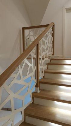 WYCINANE.COM.PL - Bartłomiej Michalski Staircase Railing Design, Interior Stair Railing, Modern Stair Railing, Balcony Railing Design, Home Stairs Design, Modern Stairs, Home Design Plans, Paneling Makeover, Escalier Design