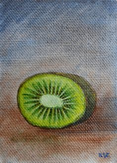 Tiny  oil painting of a kiwi fruit half, on a canvas panel, original art by Ilse Hviid, small original painting, mini painting, by IlseHviid on Etsy