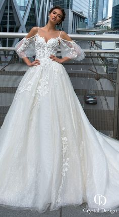 Crystal Designs Wedding Dresses 2019 - Paris Collection Ballgown wedding dress with balloon long sleeves Princess bridal gown with cold shoulder neckline lace wedding ball gown See more gorgeous wedding gowns by clicking on the photo Princess Bridal, Princess Wedding Dresses, Dream Wedding Dresses, Wedding Gowns, Princess Gowns, Princess Fashion, Modest Wedding, Lace Weddings, Wedding Ceremony