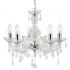Marie Therese Clear 5 Light Chandelier With Acrylic Glass Drops