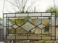 Beveled Diamonds Stained Glass Window by DebsGlassArt on Etsy, $210.00