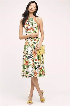 There's something so fun and fruity about this pineapple halter dress.