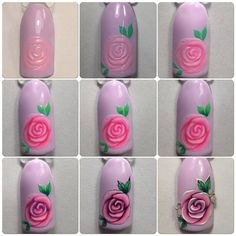 Trendy nails art tutorial step by step rose 55 Ideas Nail Art Fleur, Rose Nail Art, Rose Nails, Flower Nail Art, New Nail Art, Nail Art Diy, Diy Nails, Nail Art Modele, Nail Art Techniques