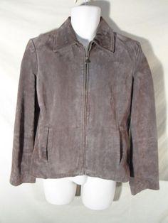 Women's Relativity Brown Suede Leather Zip Up Coat Basic Jacket-LARGE #Relativity #BasicJacket