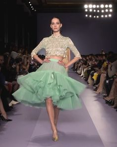 Georges Hobeika Look Spring Summer 2020 Haute Couture Collection. - Embellished Mint Green Two Piece Midi dress with Half Long Sleeves. Fashion Show Themes, Fashion Show Collection, Couture Collection, Georges Hobeika, Green Velvet Dress, Green Lace Dresses, Fashion 2020, Runway Fashion, High Fashion