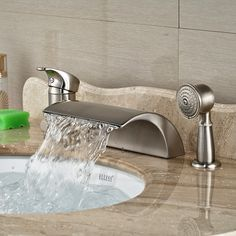 Wholesale And Retail Promotion Luxury Nickel Brushed Roman Waterfall Spout W/ Diverter Hand Shower Sprayer Tap #Affiliate
