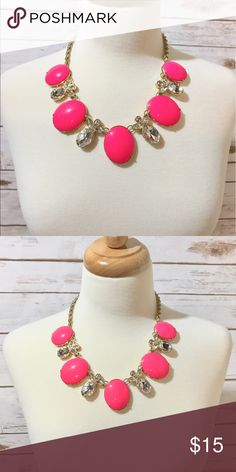 Beautiful Statement Necklace Beautiful statement necklace from Banana Republic. The jewels are neon pink and pineapple gems. Banana Republic Jewelry Necklaces