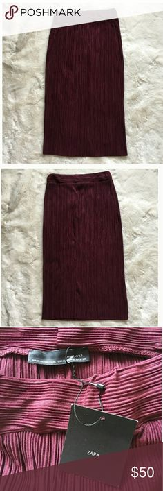 Zara New with tag. Pencil skirt in wine color. High rise. Hidden elastic waist band sweeps into a pencil skirt. Pleated pattern. Soft and stretchy fabric. Material: 100% Polyester Zara Skirts Pencil
