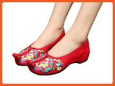 d44644756f3c13 ezShe Chinese Opera Totem Embroidery Womens Old Beijing Flats Casual Shoes
