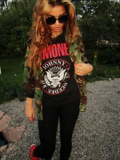 This is a great way to incorporate red still with the camouflage. A black shirt with red writing