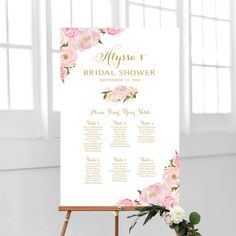 Bridal Shower Seating Chart By Table Various Sizes Quinceanera Invitations, Quinceanera Party, Seating Chart Wedding, Seating Charts, Vintage Rose Gold, Vintage Bridal, Welcome Table, Photo Booth Frame, Vintage Fonts