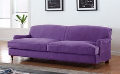 Caster Mid Century Modern Microfiber Sofa