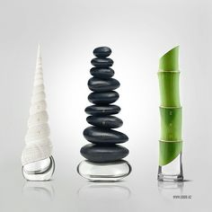 """""""ZEN"""" perfume design-concept by Igor Mitin. """"The main objective was to emphasize the naturalness of the fragrances and to strengthen eastern meditative mood contained in the word Zen. Best Perfume, Perfume Bottles, Perfume Packaging, Bottle Packaging, Water Packaging, Zen Design, Design Blog, Creative Design, Look Alike"""
