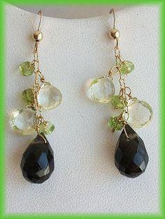 Quartz Earrings Gold Filled Earrings Peridot Earrings by AnnTig, $43.95