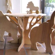 Fancy - Childrens Furniture Set by Palomas Nest -Natural Wooden Animal Chair and Tree Table Nursery Furniture, Plywood Furniture, Dining Furniture, Kids Furniture, Furniture Sets, Modern Furniture, Furniture Design, Furniture Dolly, Furniture Cleaning