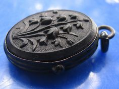 amazing antique victorian vulcanite mourning locket pendant lily of the valley around 1860~