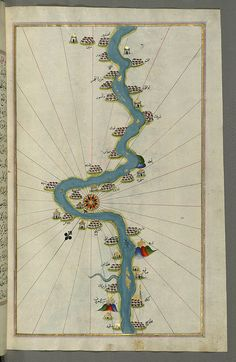 Illuminated Manuscript, Map of the Nile River with various oases on each as far as Sīdī Maʿrūf from Book on Navigation, Walters Art Museum Ms. W.658, fol.310b by Walters Art Museum Illuminated Manuscripts, via Flickr