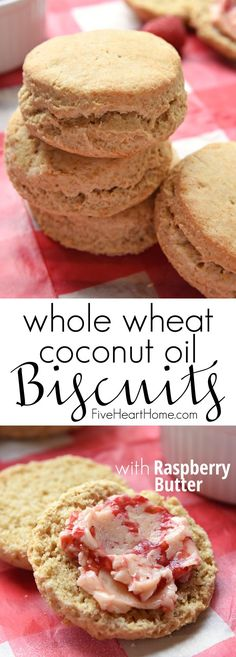 Fluffy Whole Wheat Coconut Oil Biscuits with Raspberry Butter ~ light, flaky, and wholesome, thanks to 100% whole wheat flour and nourishing coconut oil. Top them with honey-sweetened Raspberry Butter for a delicious breakfast treat! | FiveHeartHome.com