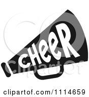 Clipart Black And White Cheerleader Megaphone Royalty Free Vector Illustration