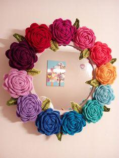 Crochet Flower Mirror by Noonbeams on Etsy