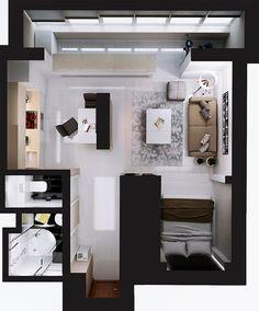 Современный дизайн интерьера студии площадью 35 кв м