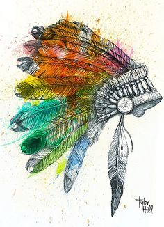 There's something I love about head dress tattoos