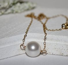 White Pearl Necklace14K Gold Filled Flat by HoneysuckleJewelscom, $55.00