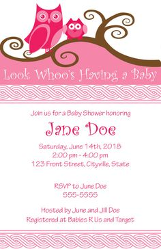 Pink Owl Baby Shower Invitation - PRINTABLE!