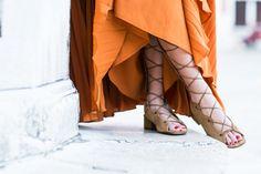 Venice :: Pleated maxi dress & Knee-high sandals :: Outfit ::  Dress :: Self Portrait Gladiator sandals :: Saint Laurent Bag :: Chloe Accessories :: Karen Walker sunglasses Published: July 6, 2016