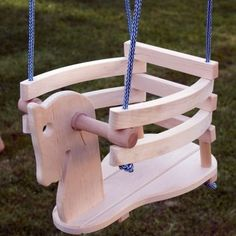 Baby Toddler Natural Wood Horse Figure Safety Swing Seat Chair - Wooden Swing…