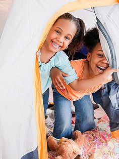 When you camp outdoors, you have to contend with bad weather and hungry bugs. Pitch a tent in your family room for the same vacation experience minus the stress!