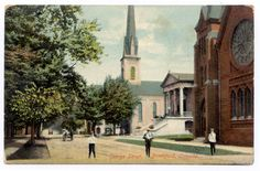 Old postcard featuring Congregational Church in Brantford, Ontario (the light colored church, with the spire). This church was designed and built by William Mellish in 1864-65. Ironically in 1959, lightning during a heavy wind/rainstorm struck the church spire causing it to collapse. The church was demolished and the current structure for Central Presbyterian Church was built. Info on the construction can be found here…