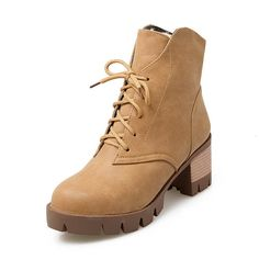 BalaMasa Girls Bandage Square Heels Lace-Up Imitated Leather Boots >>> Hurry! Check out this great shoes : Rain boots