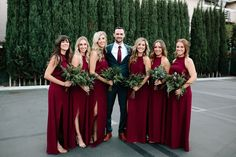 Let The Greenery Do The Talking At Your Boho Romance Wedding floor length red wedding bridesmaid dresses Red Bridesmaids, Burgundy Bridesmaid Dresses, Wedding Bridesmaid Dresses, Bridesmaid Outfit, Wedding Bouquets, Winter Wedding Bridesmaids, Wedding Flowers, Summer Wedding, Green Fall Weddings