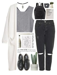 """Untitled #106"" by purikura ❤ liked on Polyvore featuring Monki, Dr. Martens, Mansur Gavriel, Topshop and Christofle"