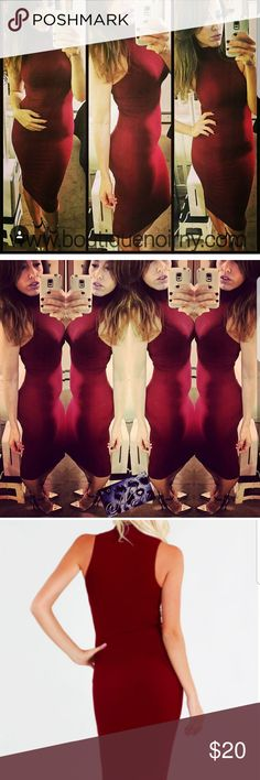Sexy Burgundy Midi Dress LAST ONE!!! *** LAST ONE*** Body-con sleeveless mock turtleneck ribbed seamless midi dress. Made of quality stretch material, with a snug fit similar to shape wear.  One size generally fits up to a size 10, Small-Large. Girl in picture is a 4/6, 5'6.   Beautiful Burgundy Red. One of our favorites!!  Proudly made in the USA.  Nylon  New (tags were never attached but does come in plastic from our warehouse)   Ships from NY. nikibiki  Dresses Midi