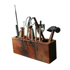 So your dad's a bit of a scatterbrain. Help him corral stray pens with this reclaimed wood organizer, made from antique floor joists taken from Philadelphia houses built in the 1800s. Hand-rubbed with ...  Find the Reclaimed Wood Desk Caddy, as seen in the The Cobbler's Studio Collection at http://dotandbo.com/collections/the-cobblers-studio?utm_source=pinterest&utm_medium=organic&db_sku=PGA0001