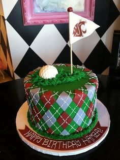 Golf Birthday Cake | I don't even know who this is for but GO COUGS!