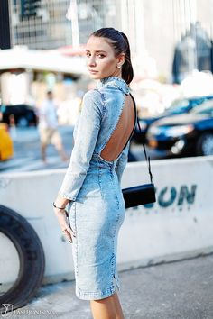 Backless denim #dress. Snapped in New York.   #streetstyle