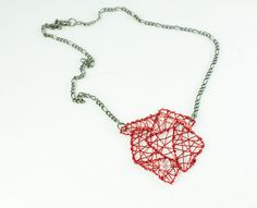 Necklace -Irregular Pieces- in Red and Transparent Glass- Statement Piece Bold on Etsy, $54.79 AUD