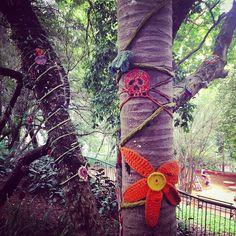 Árvores bem vestidas na pracinha mais charmosa de Sampa #arte #eapacopublico #asarvoressomosnozes