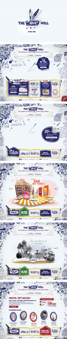 Bic: 60 ans du stylo Bic Cristal por Big Youth, via Behance Site Web Design, Design Sites, App Design, Interface Design, Gui Interface, Website Layout, Web Layout, Layout Design, Leaflet Layout