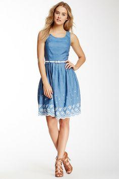 Yumi London Embroidered Chambray Dress on HauteLook Casual Work Dresses db4f7a9b3cbf