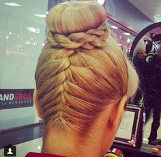 Cute hairstyles braided updo sockbun... My hair is so thin though that I'd only be able to do the bun! Grrrrrrrr