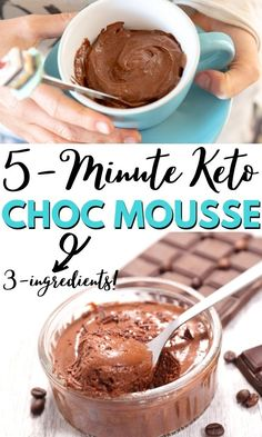 Easy 3 ingredient 5-minute keto chocolate mousse is a quick and simple way to satisfy those dessert cravings. It's so light and fluffy, no one will know it's keto, low carb, gluten-free, vegetarian and sugar-free. Low Sugar Cookies, Low Sugar Snacks, Low Sugar Desserts, Low Carb Sweets, Low Carb Chocolate Mousse, Keto Chocolate Mousse, Sugar Free Chocolate, Chocolate Recipes, Keto Desserts To Buy